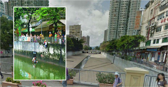 Babar (inset) pulls the unconscious would-be suicide to safety. The man apparently jumped over the railing into the open canal. Photos: Google Maps, Apple Daily