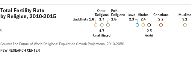 Total fertility rate by religion, 2010-2050. Image: Pew Research Center